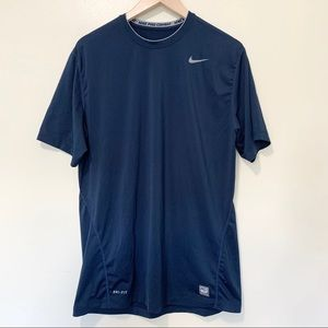 Nike Pro Combat Dri Fit Navy Blue fitted Tee, XL